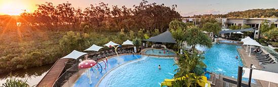 Sun setting over RACV Resort at Noosa Queensland